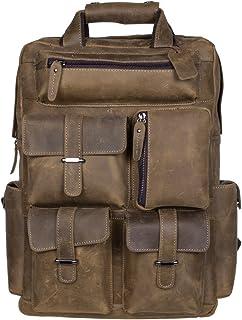 S-ZONE Herren Echtes Leder Handgefertigte von 15,6 bis 17 Inch Laptop Rucksack mit Mehreren Taschen Reisesporttasche (B-Hell Braun)