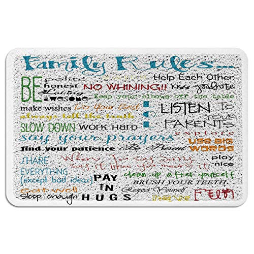 Doomat Outdoor Rug Floor PVC Wire Ring/Loop Durable Rubber Non-Slip Bottom Abstract Family Rules Handwriting Cartoon Heavy Duty Dusting Welcome Mats for Car/Front Door/Entrance/Garage 24x35 inch (Loops Handwriting)