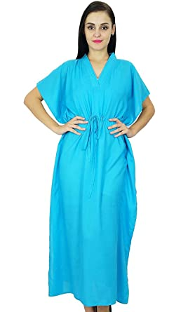 d16367da46 Bimba Women Long Solid Kaftan Soft Cotton Beach Cover Up Caftan Maxi Aqua  Blue