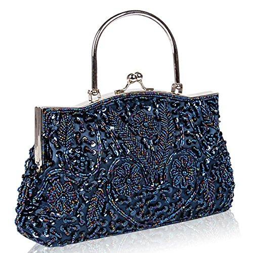 22cm mujer con x de pink noche 24 de besos blue diseño de size embrague de de cuentas para bolsas satén metal marco de lentejuelas bolso one 1WtIBq1