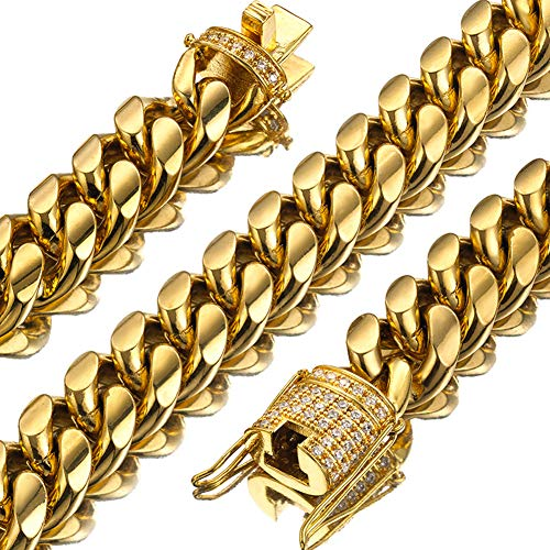 18K Gold Plated Cuban Link Chain Necklace with Iced Out Cubic Zirconia Clasp for Rapper, Men Women Hip Hop Curb Chain Choker, 15Mm Width 18''