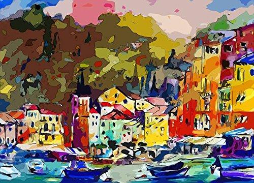 Wall Art Print entitled Portofino Italy Modern Mixed Media Art by Ginette Callaway   10 x 7 (Portofino Media)