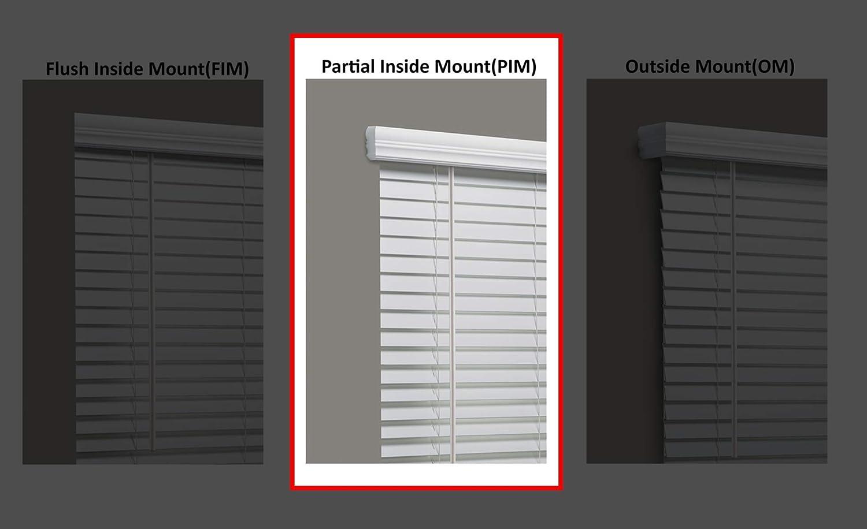 Linen Avenue Cordless Faux Wood Blind White 20 W x 32 to 36 H Partial Inside Mount