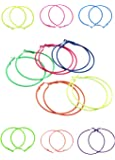 ILOVEDIY 10pcs Mixed Color Circle Hoop Earrings Basketball Wives Earrings 56mm Random ¡­