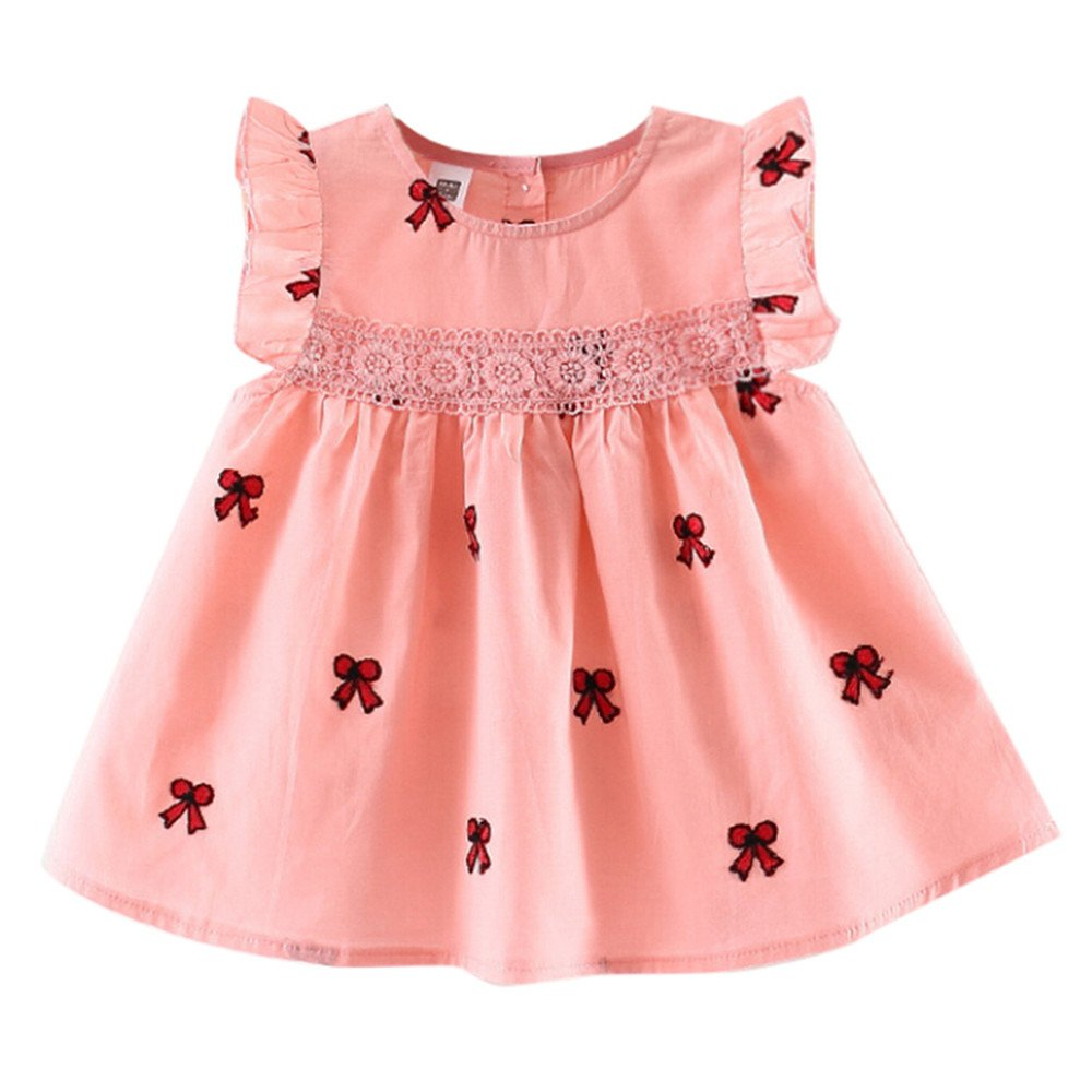 Putars Baby Clothing Infant Girls' Sleeveless Bowknot Party Princess Casual Dress