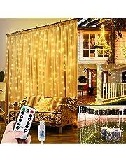 WEARXI 300 diod LED kurtyna świetlna zasłona świetlna 3 m 8 trybów kurtyna LED do dekoracji pokoju sypialni dekoracja świąteczna na zewnątrz balkon (ciepła biel)