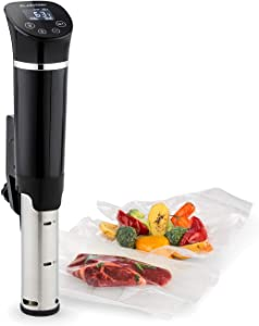 Klarstein Quickstick Flex, Sous Vide immersion Cooker, 1300 Watts, Timer Function, 3D Circulation, 32 - 203 ° F, LCD Touch-Display, Up to 21 qt, Piano Black