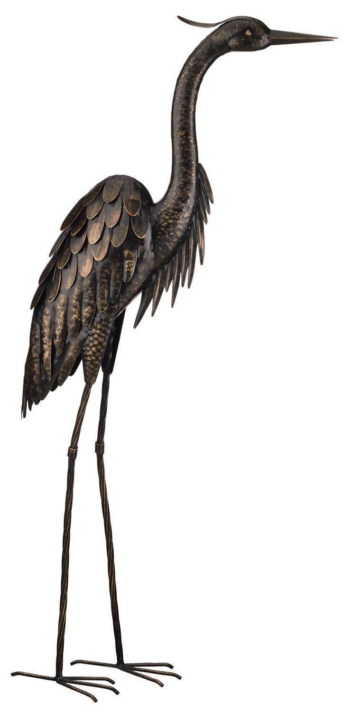 114 cm Regal Art and Gift 10867 Reiher aus Bonze bronzefarben Standing with Preeing Bronze stehend