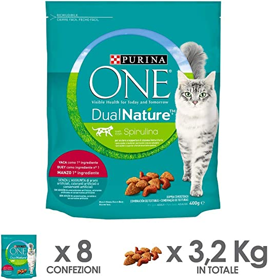 PURINA ONE dualnature pienso para Gatos Adultos Rico de Ternera y con espirulina Natural 8 Piezas: Amazon.es: Productos para mascotas