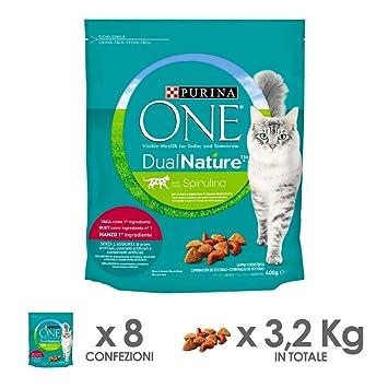 Purina ONE dualnature pienso para Gatos Adultos Rico de Ternera y con espirulina Natural 8 Piezas: Amazon.es: Productos para mascotas