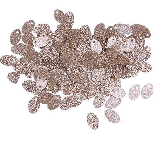 1500pcs 58mm Small Flat Oval Shape Metallic Glitter Champagne Gold Loose Sequins Spangles Side Hole for Embroidery, Applique, Arts, Crafts and Embellishment (Metallic Glitter Gold) Flat Oval Shape