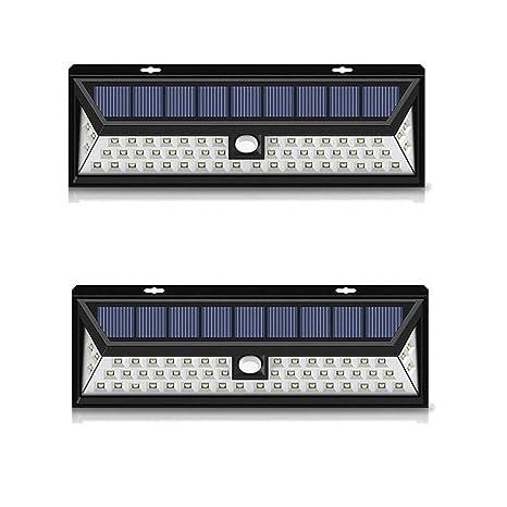 118Led Proyector Solar con Sensor De Movimiento, Rango De 6-8 Metros, Ángulo 120O, Jardín, Terraza, Garaje hasta 12 Horas (2 Juegos)