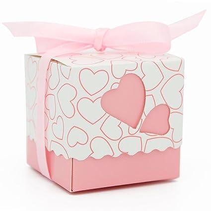 50pcs doble amor corazón Candy Favor cajas papel Kraft Bonbonniere con cinta, ehonestbuy cortado con