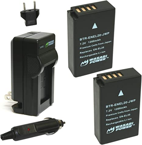 Wasabi Power Battery (2-Pack) and Charger for Nikon EN-EL20, Nikon ...