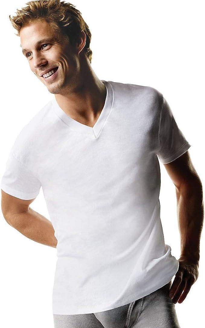 Hanes Mens Big /& Tall V-Neck 3-Pack Undershirt T-Shirt ComfortSoft TAGLESS White