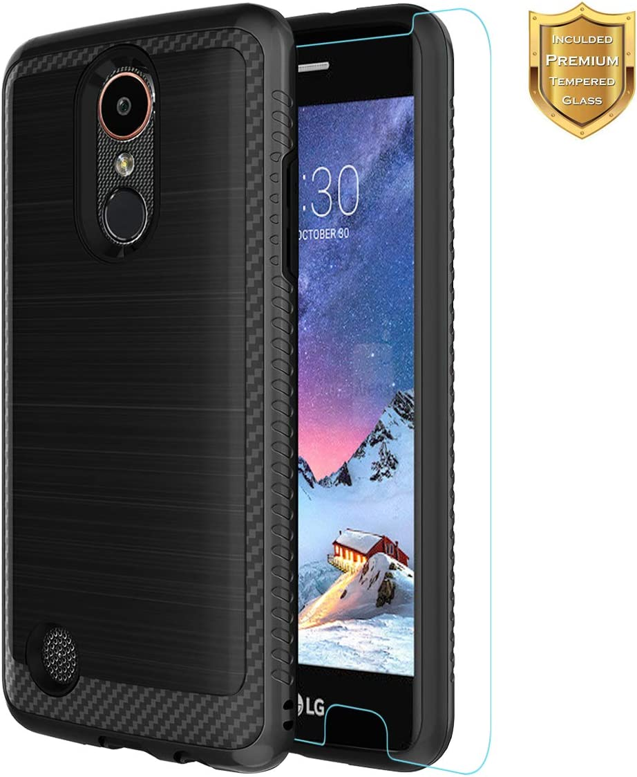 Case for LG Aristo/LG Rebel 2/LG Rebel 3 LTE/LG Phoenix 3/LG Fortune/LG Risio 2/LG K8 2017 Phone Case with Tempered Glass Screen Protector Non-Slip Texture Slim for Boys Girls Black