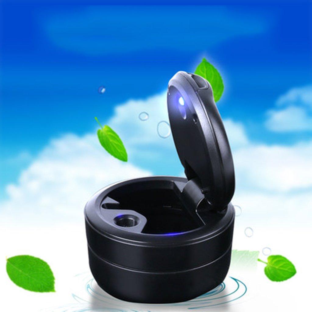 SryWj Car Smokeless Cylinder Block Ashtray With Blue LED Light