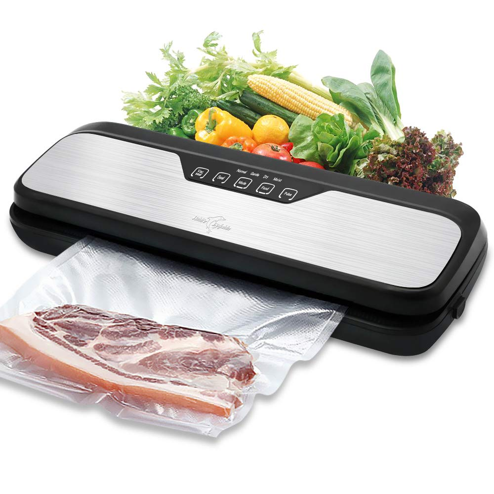 Vacuum Sealer Machine White Dolphin Vacuum Sealing System, Dry Moist Food Modes for Preserving Food with Starter Kit Bag Rolls Hose and Mark Pen, Stainless Steal