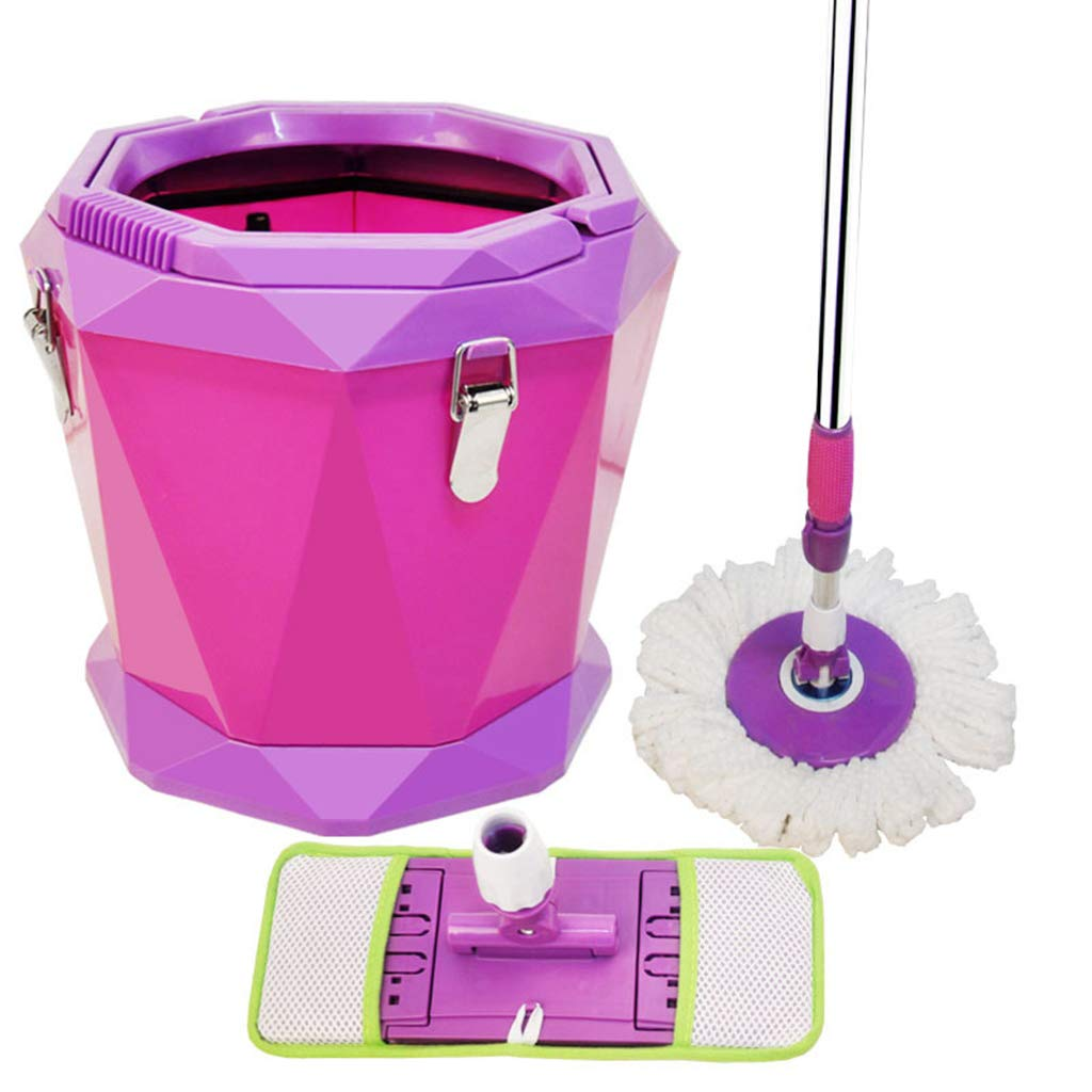 Hand Pressing Rotary mop Flat dragging Water Single Bucket mop Bucket Rotating Dual-use mop Cleaning Ground Suitable for Home Classroom Office,Pink