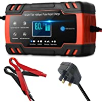 Car Battery Charger, DEYINVI 12V 8A / 24V 4A Battery Charger & Maintainer, 3-Stage Automatic Trickle Battery Charger…