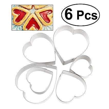 BESTOMZ 6pcs cortador de corazón - Moldes para galletas cortador de galletas de acero inoxidable,