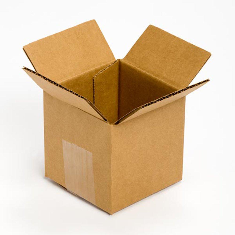 Pratt PRA0001 Recycled Corrugated Cardboard Single Wall Standard Cube Box with C Flute, 4'' Length x 4'' Width x 4'' Height, (Pack of 25) by Pratt (Image #1)