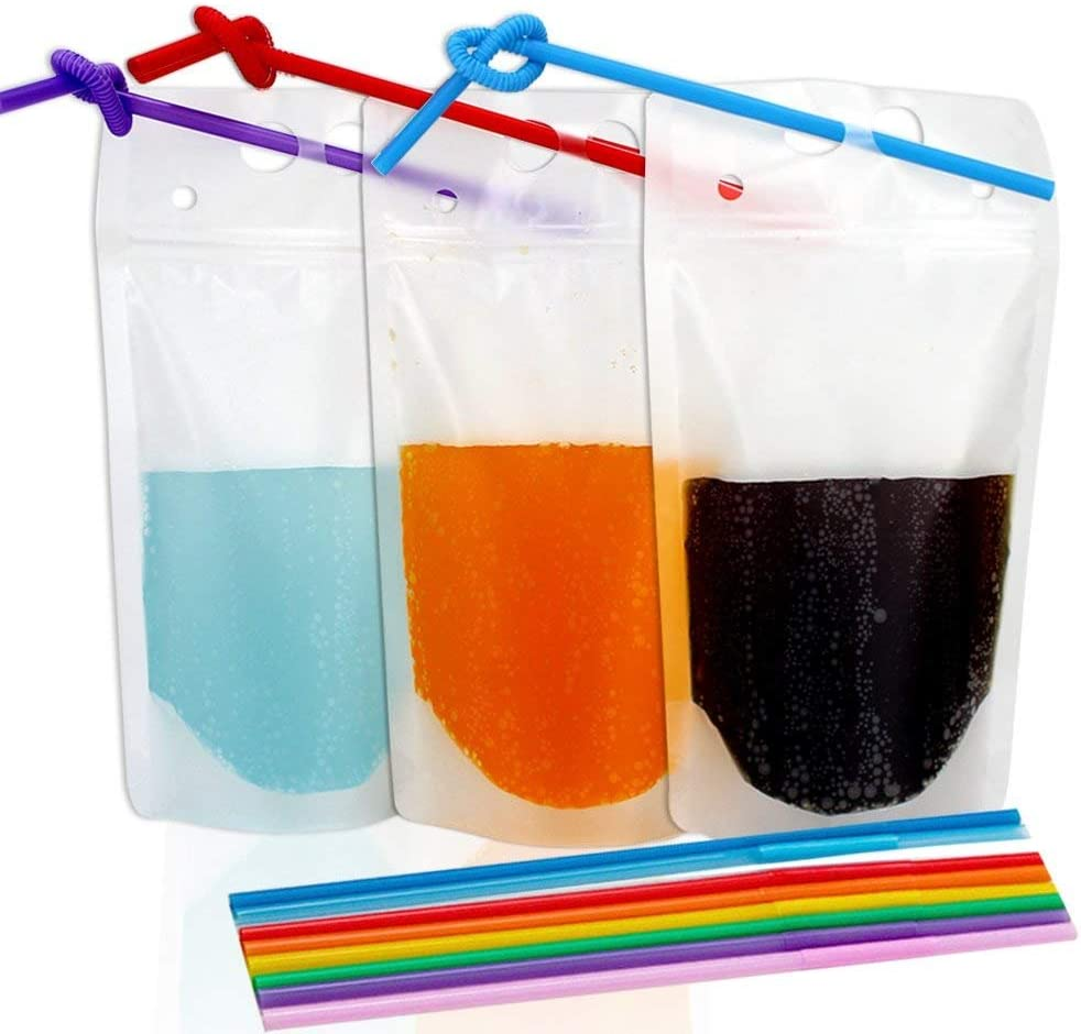 TOMNK 100pcs Clear Drink Pouches Bags Smoothie Bags Reclosable Zipper Heavy Duty Hand-held Translucent Stand-up Plastic Pouches Bags Drinking Bags 2.4 Inches Bottom Gusset with 100pcs Straws