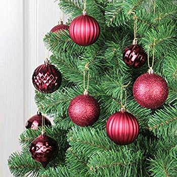 Champagne Moonet 24pcs 2.36in 60mm Christmas Decoration Balls Shatterproof Color Set Ornaments Balls for Festival Wedding Home Party Decors Xmas Tree Hanging