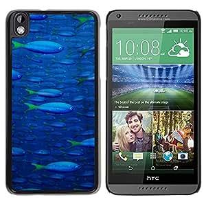 PC/Aluminum Funda Carcasa protectora para HTC DESIRE 816 Fish Ocean Blue Sea Wildlife Swim Art Painting / JUSTGO PHONE PROTECTOR