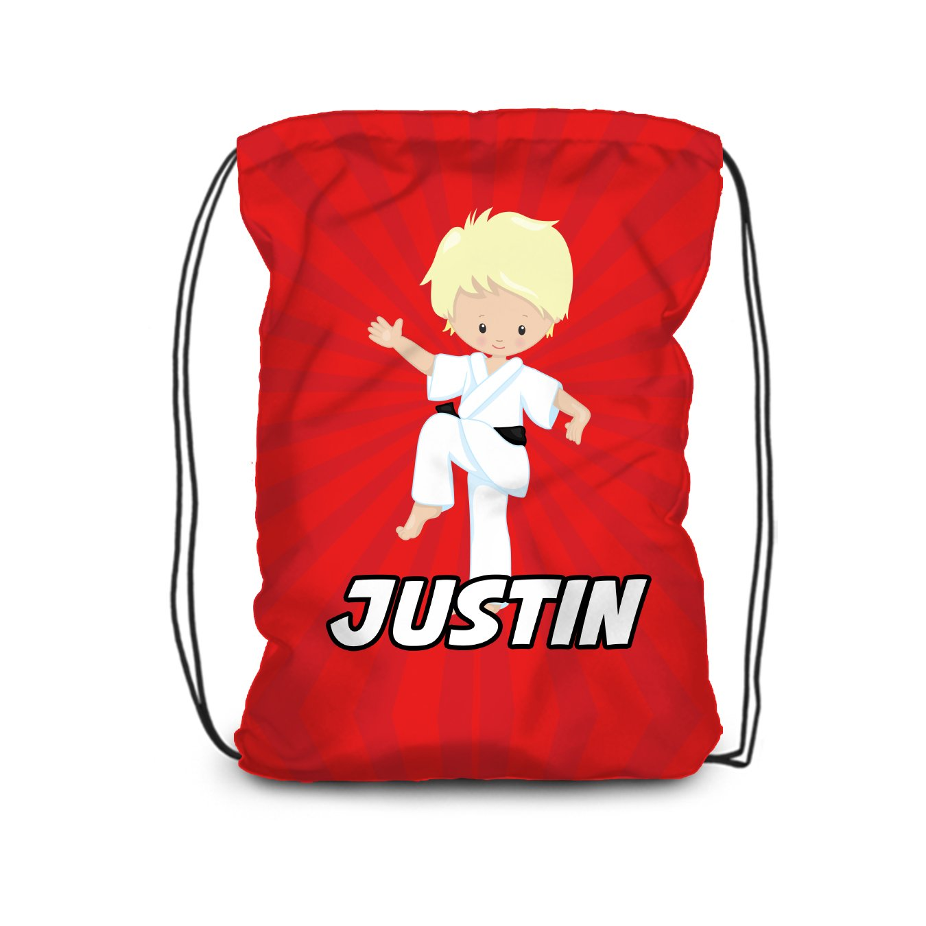 Karate Drawstring Backpack - Red Karate Boy Personalized Name Bag