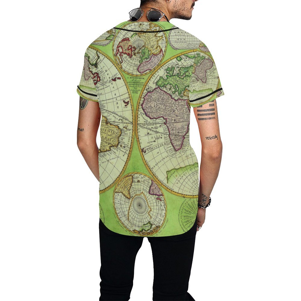 World Map Button Down Shirt.Amazon Com Lumos3dprint Vintage Old World Map Men S Baseball Jersey