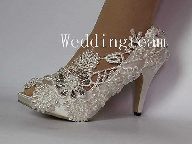 Amazon.com  8cm heel satin white ivory lace pearls crystal open toe Wedding  shoes bride size 5-9.5  Handmade 7312db375f9a