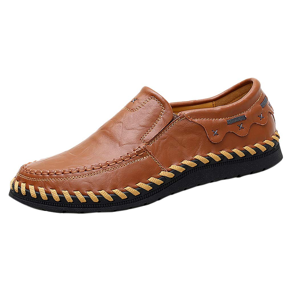 Gleamfut Men's Lazy Leather Shoes Large Size Casual Comfortable Loafers Brown by Gleamfut