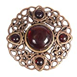 Zinc Diecasted Brooch Pin - 76mm(Diam) - Round Filigree Design with Amber Cabochon Stones - Antique Brass
