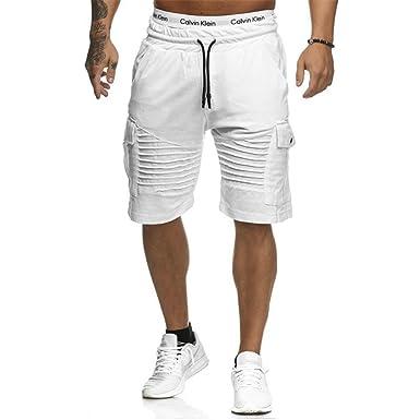 Juqilu Pantalon Court Bermuda Homme - Sport Jogging Shorts Pantacourt  Poches Trous Plier Casual Décontracté Fitness 329b91e1461