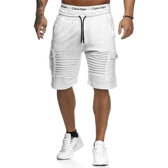 Juqilu Hombre Pantalones Cortos Deportivos - Bermudas Pantalones cortos con cordón Agujeros Doblar Moda Cintura Elástica