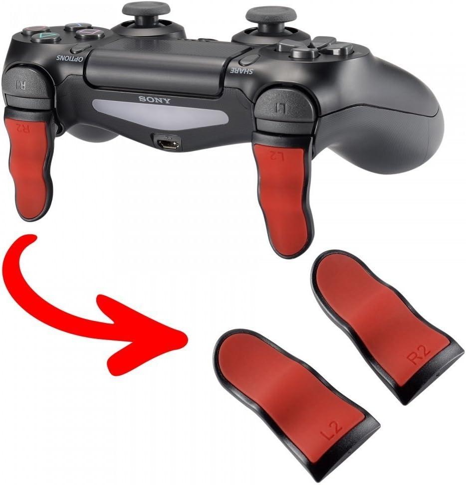eXtremeRate 2 × Triggers prolongés Gâchettes Soft Touch L2 R2 Boutons pour Playstation 4 PS4 Pro PS4 Slim Manette Contrôleur(JDM-001 JDM-011 JDM-040 JDM-050 JDM-055) - Rouge & Noir