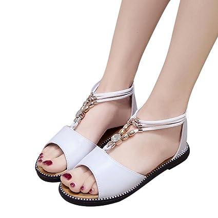Calzado Chancletas Tacones Sandalias Roma Mujer Rhinestone Transpirable Plana Anti Deslizamiento Punta Abierta Zapatos de Playa