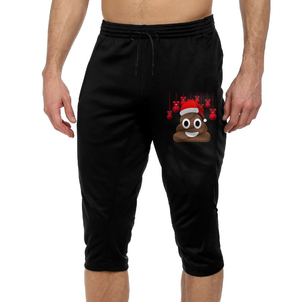 BigManPants Christmas Poop Emoji Smiley Exercise Male Vintage Casual Durable French Terry Capri Pants by BigManPants