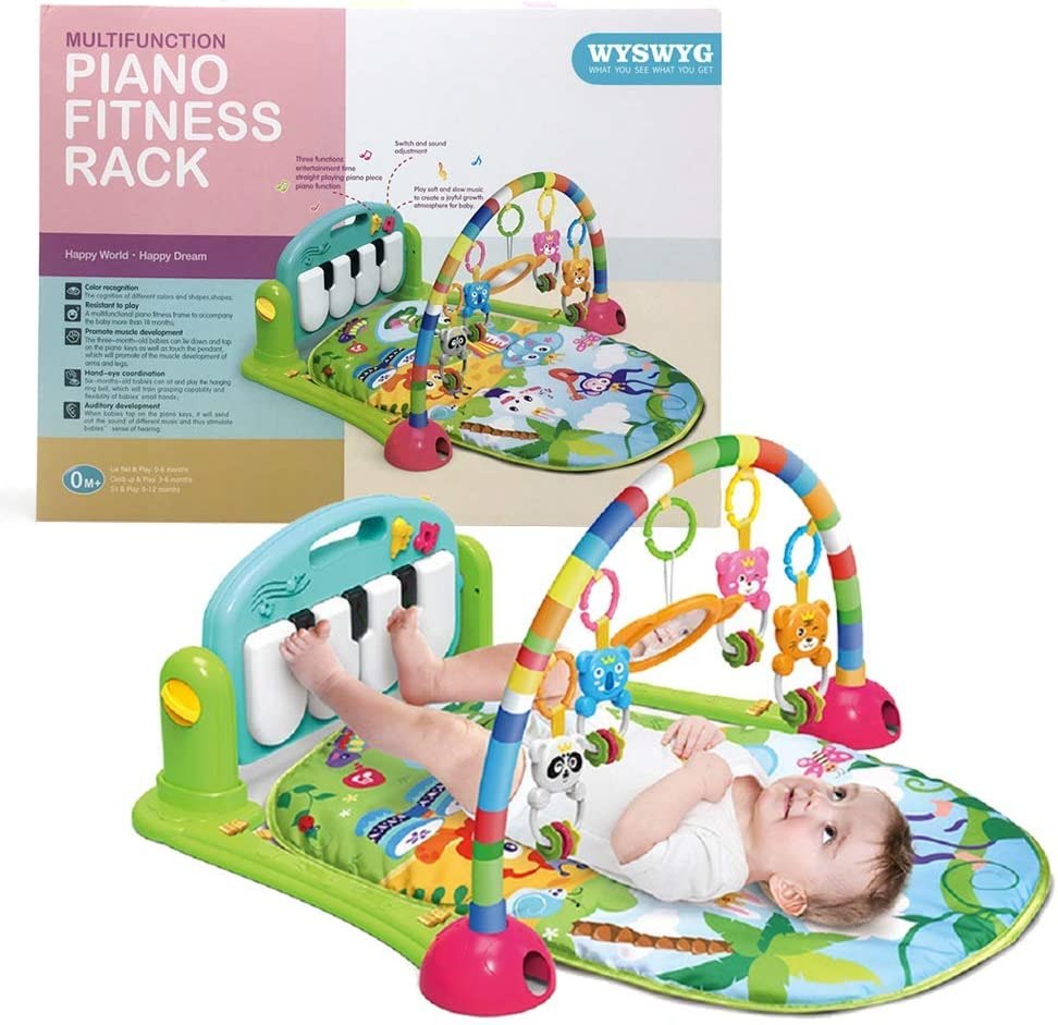 WYSWYG Baby Gym Jungle Musical Play Mats for Floor, Kick and Play Piano Gym Activity Center with Music, Lights, and Sounds Toys for Infants and Toddlers Aged 0 to 6 12Months Old Green