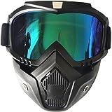 Ski Bike Motorcycle Face Mask Goggles Mask Detachable Road Riding UV Motorbike Glasses Sunglasses for Harley Helmet (Black/Rainbow)