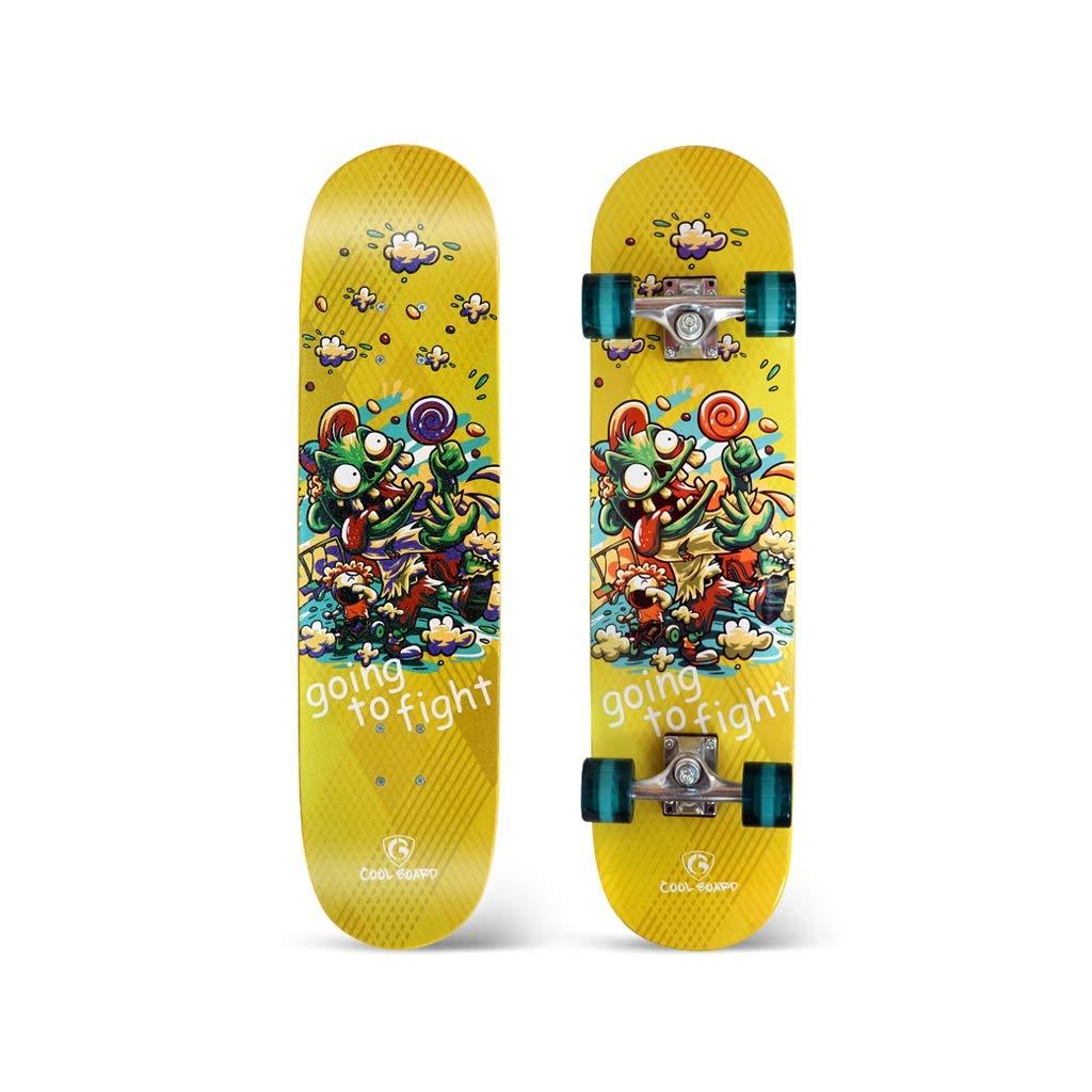 LIUFS-スケートボード ロングボードスケートボード四輪大人用ブラシストリートロード男の子と女の子初心者オールラウンドダンスボードユーススクーター 黄