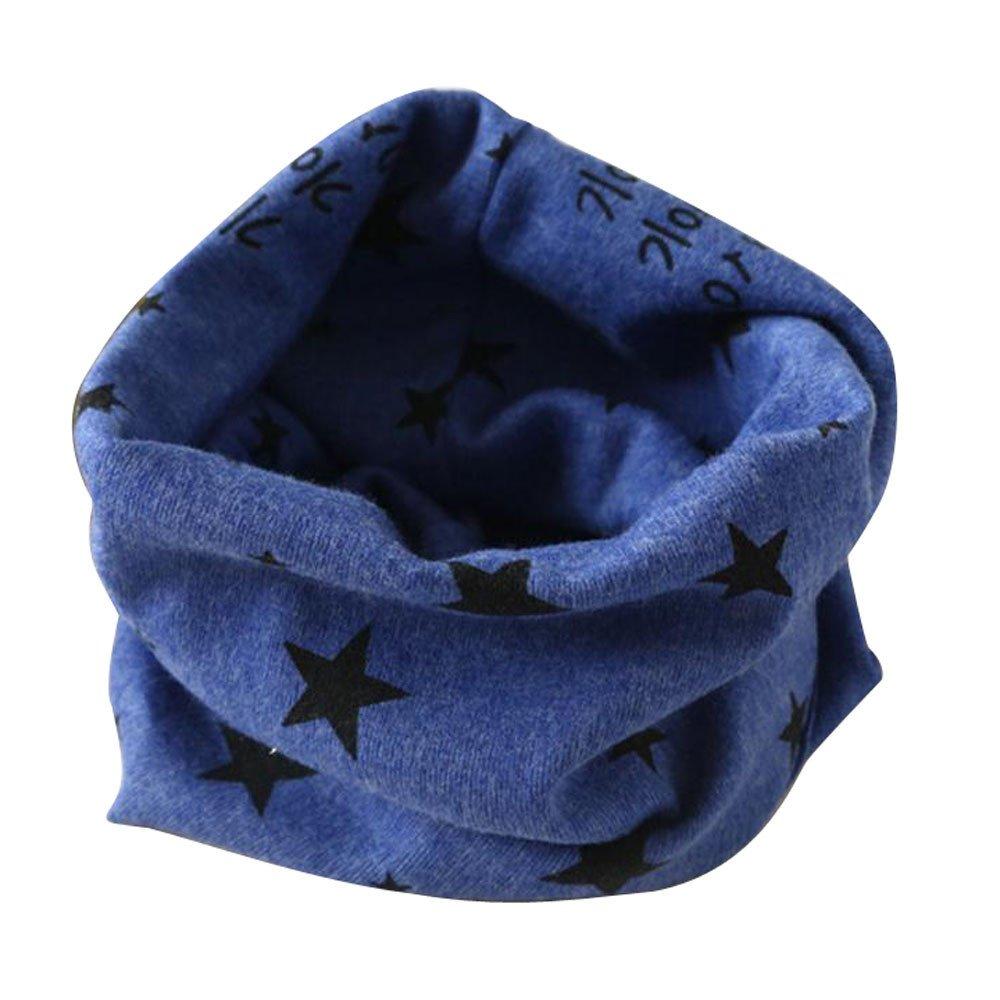 Baby Infinity Scarf, Inkach Toddler Star Print Cotton Winter Warm Shawl Scarves Loop Neck Warmer (Blue)