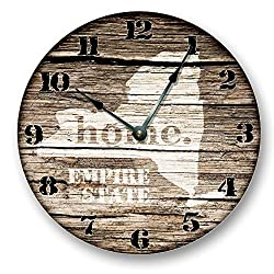 NEW YORK State Wall Clock old weathered boards rustic cabin country decor