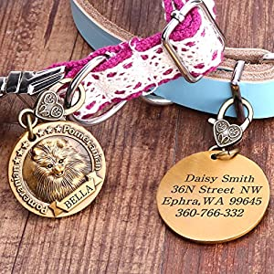 Chicdog Personalized Dog Tags for Dogs Engraved, Pet ID Tags With Name and Phone Number.Copper Alloy Embossed Pet Tag with Holder for Small Medium Large Dogs