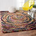 "Soft & Plush Swirl Geometric Multi Shag Area Rugs, 5 Feet 3 Inches by 7 Feet 6 Inches (5' 3"" x 7' 6"")"