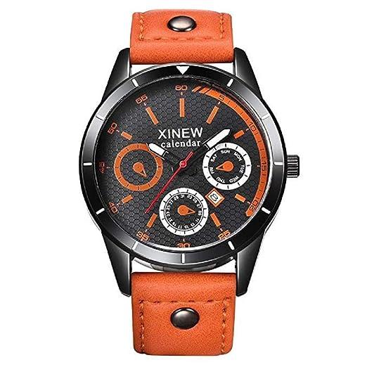 Relojes de Cuarzo para Hombre Liquidación Relojes analógicos únicos en Oferta Relojes de Pulsera de Cuero para Hombres (Amarillo): Amazon.es: Relojes