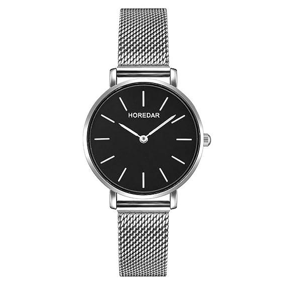 Relojes Mujer con Correa de Malla de Plata, Escala del Clavo Relojes de Pulsera Elegante clásico, Dial Negro: Amazon.es: Relojes