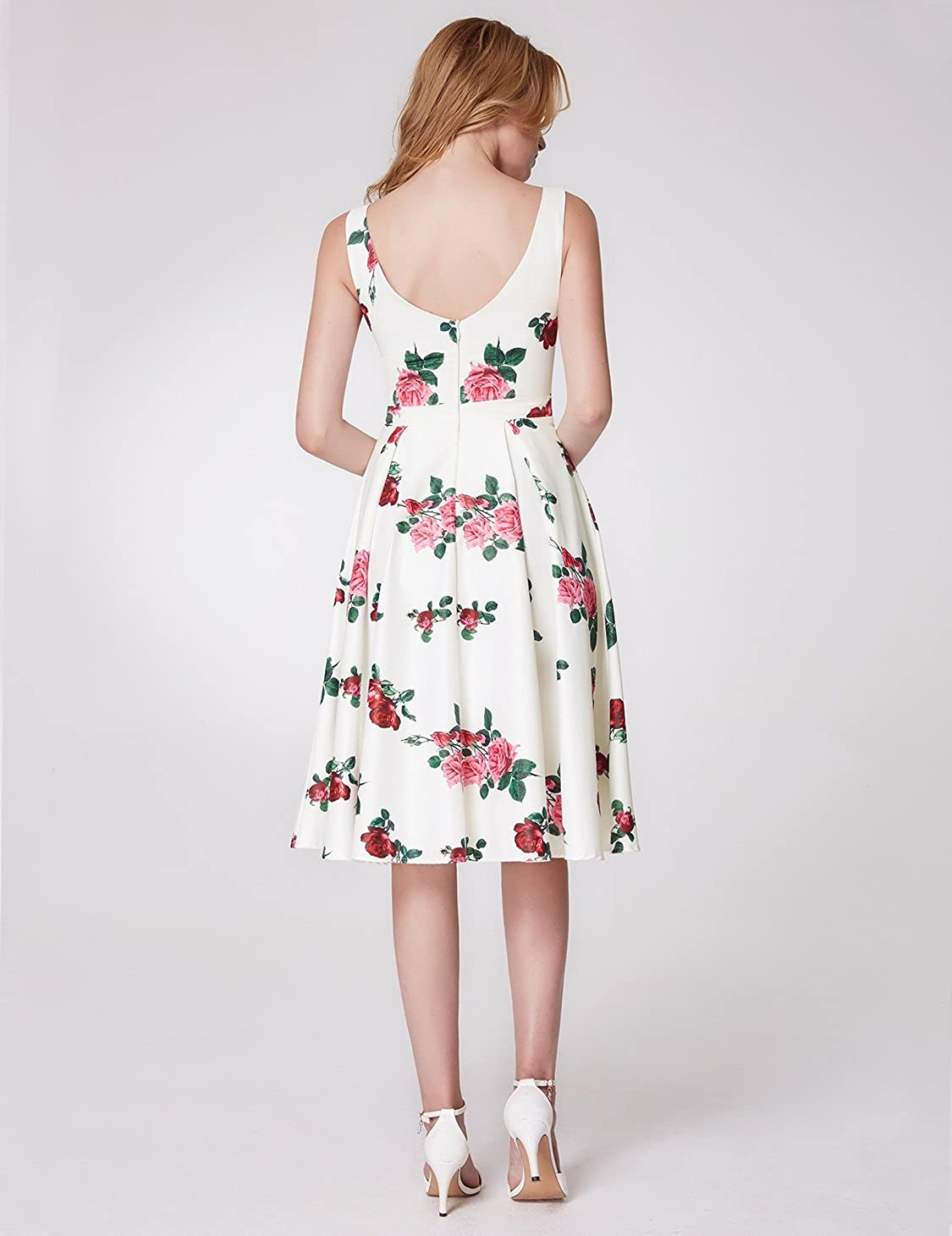 Ever-Pretty Robe de Soir/ée Cocktail Longue Femme Imprim/é Fleurs 07218