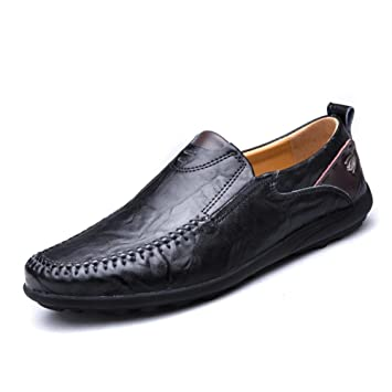 Hombres Oxford Cuero Zapatos Ponerse Casual Mocasines Hecho a mano Cómodo Moda Pisos Negro marrón Conducción Negocio: Amazon.es: Deportes y aire libre